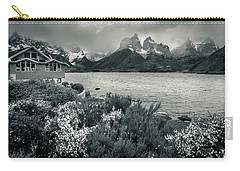 Lake Pehoe In Black And White Carry-all Pouch by Andrew Matwijec