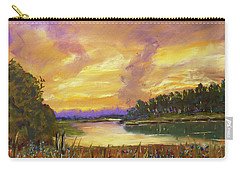 Lake Sunset - Pastel Painting Carry-all Pouch by Barry Jones