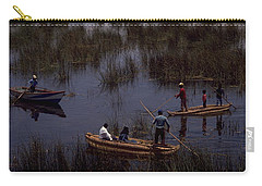 Carry-all Pouch featuring the photograph Lake Titicaca Reed Boats by Travel Pics