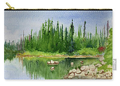 Carry-all Pouch featuring the painting Lake View 1-2 by Yoshiko Mishina