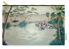 Lake With Oasis And Palm Trees Carry-all Pouch