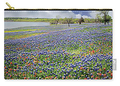 Carry-all Pouch featuring the photograph Lakeside Texas Bluebonnets by David and Carol Kelly