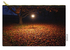 Carry-all Pouch featuring the photograph Lamp-lit Leaves by Lars Lentz