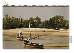 Lamu Island - Wooden Fishing Dhows At Low Tide With Pier - Antique Carry-all Pouch