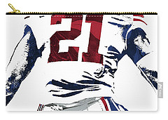 Carry-all Pouch featuring the mixed media Landon Collins New York Giants Pixel Art 1 by Joe Hamilton