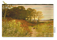 Landscape With Wild Flowers And Rabbits Carry-all Pouch by Robert Collinson
