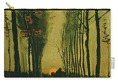 Carry-all Pouch featuring the painting Lane Of Poplars At Sunset by Van Gogh