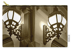 Carry-all Pouch featuring the photograph Lanterns - Night In The City - In Sepia by Ben and Raisa Gertsberg