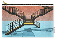 Large Stair 38 On Cyan And Strange Red Background Abstract Arhitecture Carry-all Pouch by Pablo Franchi