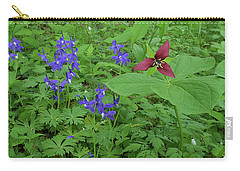 Larkspur And Red Trillium Carry-all Pouch by Alan Lenk