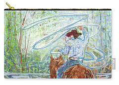 Carry-all Pouch featuring the mixed media Lasso by Eduardo Tavares
