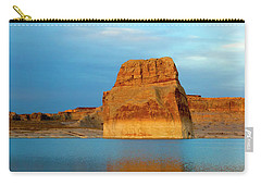 Carry-all Pouch featuring the photograph Last Light At Lone Rock by Mike Dawson