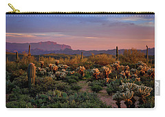 Carry-all Pouch featuring the photograph Last Light On The Sonoran  by Saija Lehtonen