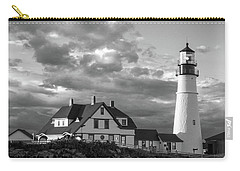 Carry-all Pouch featuring the photograph Late Afternoon Clouds, Portland Head Light  -98461-sq by John Bald