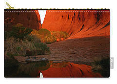 Carry-all Pouch featuring the photograph Late Afternoon Light And Reflections At Kata Tjuta In The Northern Territory by Keiran Lusk