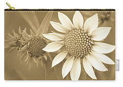 Late Summer Wildflower In Sepia Carry-all Pouch
