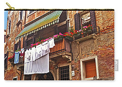 Carry-all Pouch featuring the photograph Laundry Drying In Venice by Anne Kotan