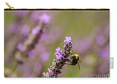 Carry-all Pouch featuring the photograph Lavender And Bee by Nick Boren