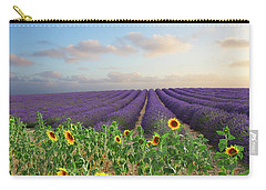 Lavender And Sunflower Flowers Field Carry-all Pouch