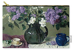 Lavender And White Lilacs With Blue Creamer And Teacup Carry-all Pouch