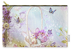 Carry-all Pouch featuring the mixed media Lavender Easter by Mo T