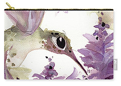 Carry-all Pouch featuring the painting Lavender Hummer by Dawn Derman