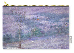 Lavender Impressionist Snowscape Carry-all Pouch by Judith Cheng