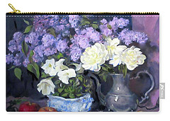 Lavender Lilacs, White Peonies, White Lisianthus, Carry-all Pouch