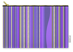Carry-all Pouch featuring the digital art Lavender Random Stripe Abstract by Val Arie