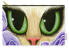 Lavender Roses Cat - Green Eyes Carry-all Pouch