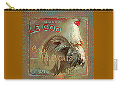 Carry-all Pouch featuring the digital art Le Coq - Cafe Francais by Jeff Burgess