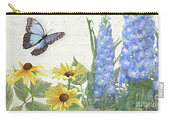 Carry-all Pouch featuring the painting Le Petit Jardin 1 - Garden Floral W Butterflies, Dragonflies, Daisies And Delphinium by Audrey Jeanne Roberts