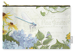Carry-all Pouch featuring the painting Le Petit Jardin 2 - Garden Floral W Dragonfly, Butterfly, Daisies And Blue Hydrangeas by Audrey Jeanne Roberts