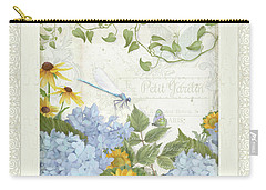 Carry-all Pouch featuring the painting Le Petit Jardin 2 - Garden Floral W Dragonfly, Butterfly, Daisies And Blue Hydrangeas W Border by Audrey Jeanne Roberts