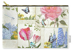 Carry-all Pouch featuring the painting Le Petit Jardin - Collage Garden Floral W Butterflies, Dragonflies And Birds by Audrey Jeanne Roberts