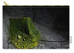 Carry-all Pouch featuring the photograph Leaf Droplets by Brad Allen Fine Art