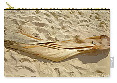 Carry-all Pouch featuring the digital art Leaf In The Sand by Francesca Mackenney