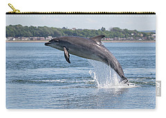 Carry-all Pouch featuring the photograph Leaping Dolphin - Moray Firth, Scotland by Karen Van Der Zijden