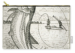 Carry-all Pouch featuring the drawing Leaping Tarpon by Charles Harden