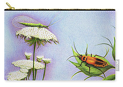 Carry-all Pouch featuring the drawing Leather And Lace... For The Gardeners by Danielle R T Haney