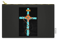 Leather And Stone Cross Carry-all Pouch