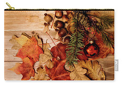 Carry-all Pouch featuring the photograph Leaves And Nuts And Red Ornament by Rebecca Cozart