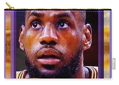 Carry-all Pouch featuring the drawing Lebron James Believes by Ray Tapajna