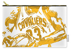 Lebron James Cleveland Cavaliers Pixel Art 6 Carry-all Pouch by Joe Hamilton