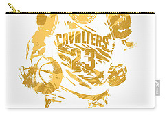Lebron James Cleveland Cavaliers Pixel Art 7 Carry-all Pouch by Joe Hamilton
