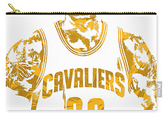 Lebron James Cleveland Cavaliers Pixel Art 8 Carry-all Pouch by Joe Hamilton