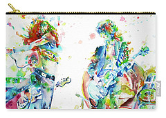 Led Zeppelin Live Concert - Watercolor Portrait.1 Carry-all Pouch by Fabrizio Cassetta