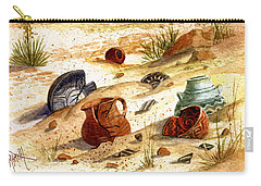 Carry-all Pouch featuring the painting Left Behind - Indian Pottery by Marilyn Smith