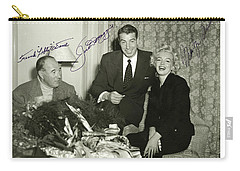 Carry-all Pouch featuring the photograph Lefty O Doul Joe Dimaggio And Marilyn Monroe Circa 1955 by Peter Gumaer Ogden