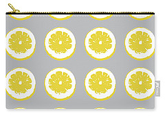 Carry-all Pouch featuring the mixed media Lemon Slices On Grey- Art By Linda Woods by Linda Woods